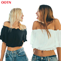 OOTN BX027 ruffled crop tops women off shoulder top strapless midriff top black white summer spring 2017