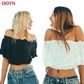 OOTN BX027 volantes crop tops mujeres fuera de hombro top sin tirantes midriff top negro blanco primavera verano 2017
