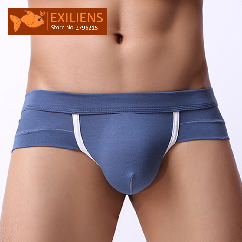 EXILIENS Brand New Underwear Men Brief Mens Briefs Sexy Ropa Fashion Modal Solid Cueca Masculina Sexy U Convex Size M-2XL 100401(China)