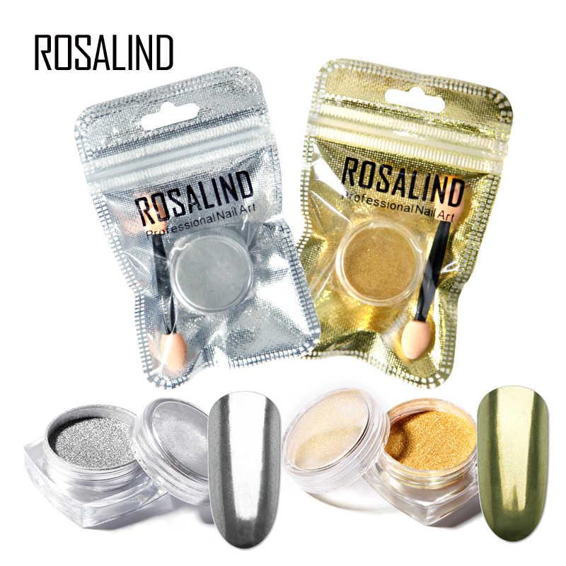 ROSALIND 1ชิ้นกระจกผลผงเล็บG Litter n ailการออกแบบโครเมี่ยมเจลยาทาเล็บสำหรับเล็บฐานด้านบนประดับตกแต่งเล็บศิลปะ