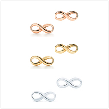 SHINETUNG 1:1S925 Sterling Silver Genuine TIFF Simple 8 Font Rose Golden Gold Trendy Earrings Women Fine High-End Jewelry
