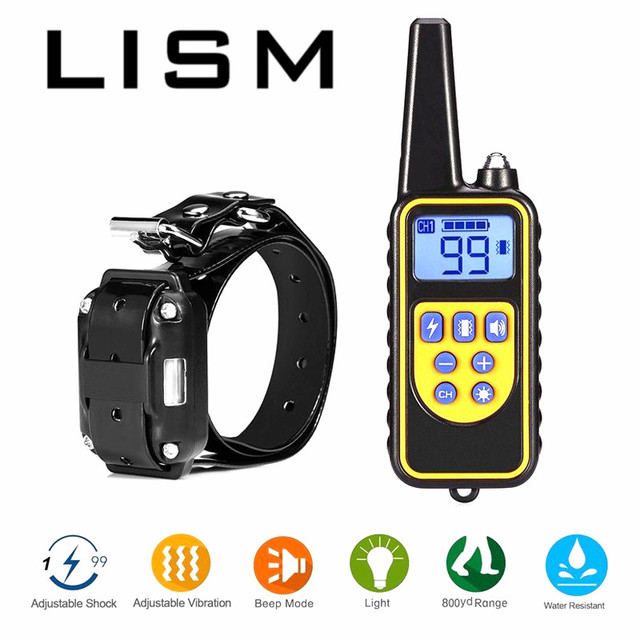 Original 800M Electric Dog Training Collar Waterproof Rechargeable Anti Barking Remote Control with Receiver Training Device