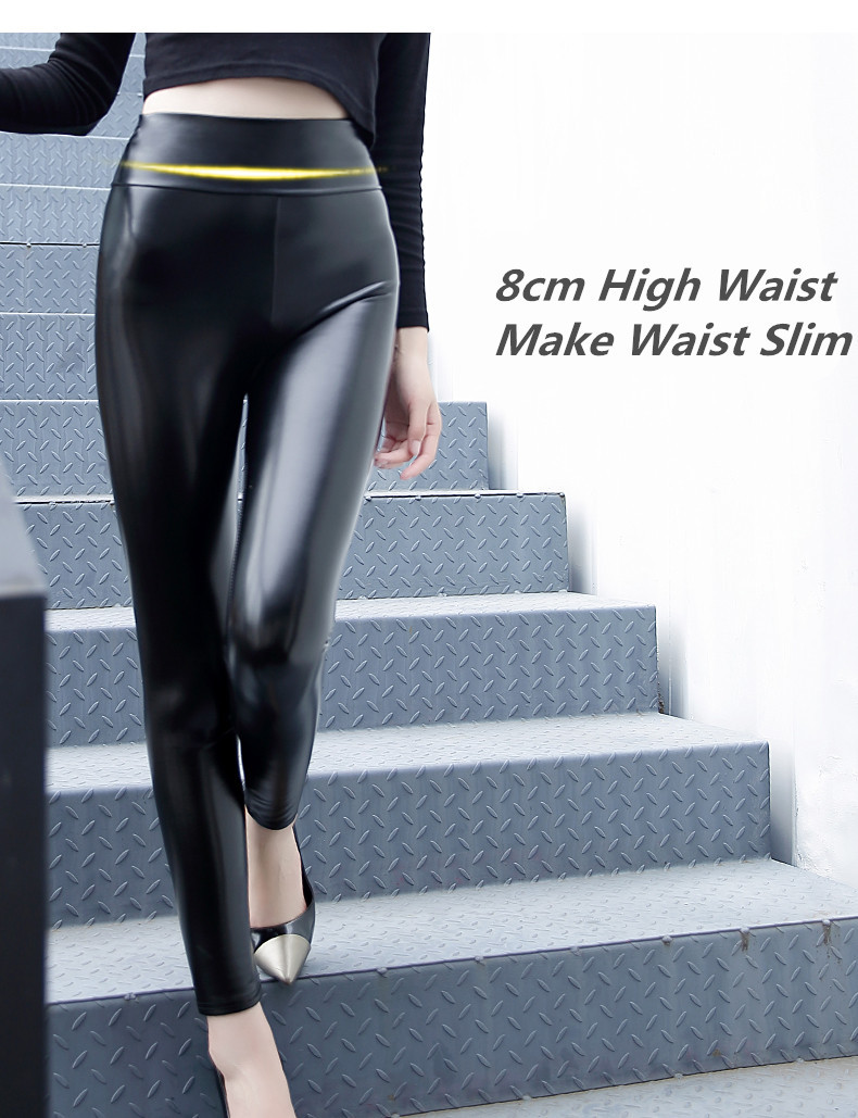 HTB1hR8HaLBj uVjSZFpq6A0SXXa8 Everbellus High Waist Leather Leggings for Women Black Light&Matt Thin&Thick Femme Fitness PU Leggings Sexy Push Up Slim Pants
