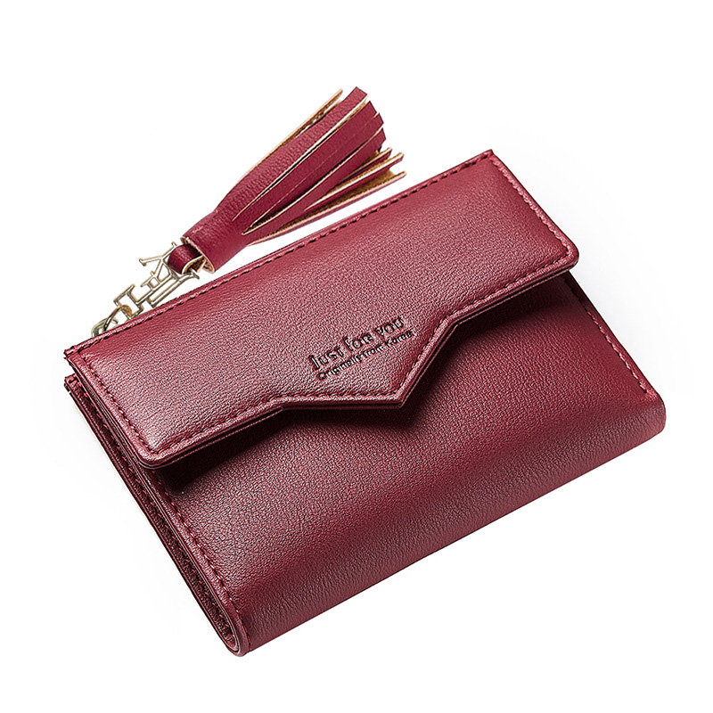 Tassel Pendant Design Small Clutch Wallets For Women, Coin Purses Card Holders Invoice Pocket PU Leather Female Lady Bag JY109 stylish multilayer pu leather tassel pendant necklace for women