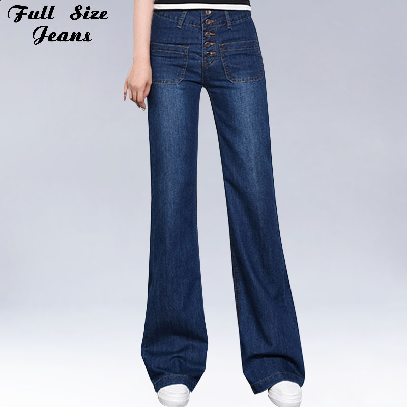 Autumn High Waist Bell Bottoms Plus Size Wide Leg Denim   Jeans   4Xl 34 3Xl Single Breasted Dark Blue Women Korean Sexy   Jeans