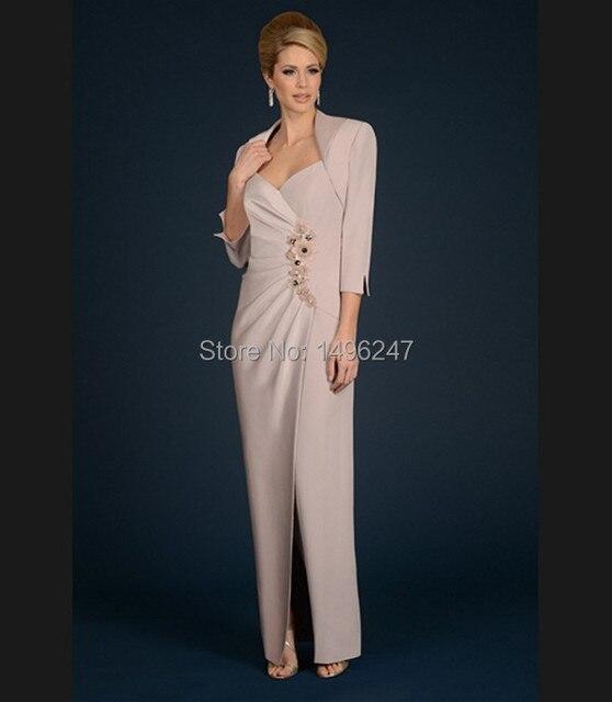 Модные длинным рукавом длинные тесная мать невесты платья сторона сплит складки тафта женщины вечерние платья вечера Wity куртка