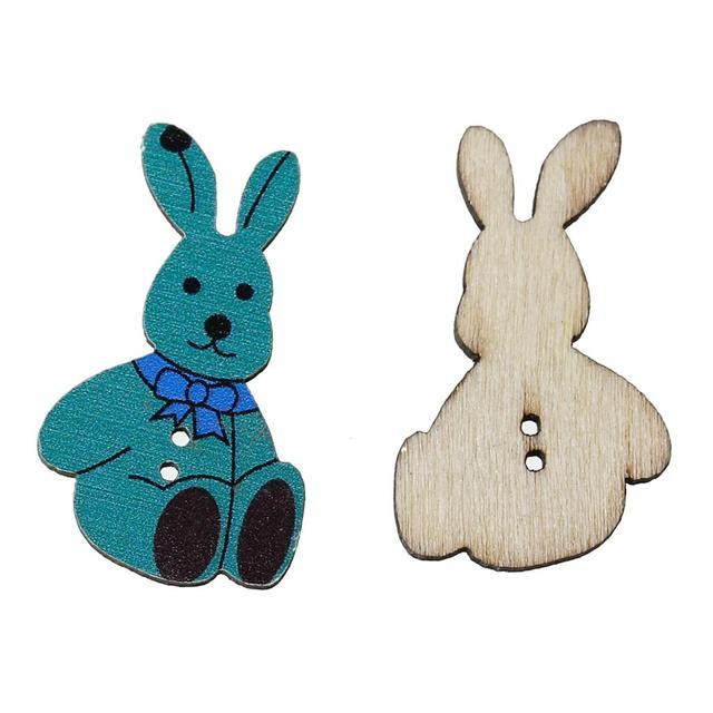 DoreenBeads Holz Nähen Taste Scrapbooking Kaninchen Pfau blau Zwei ...
