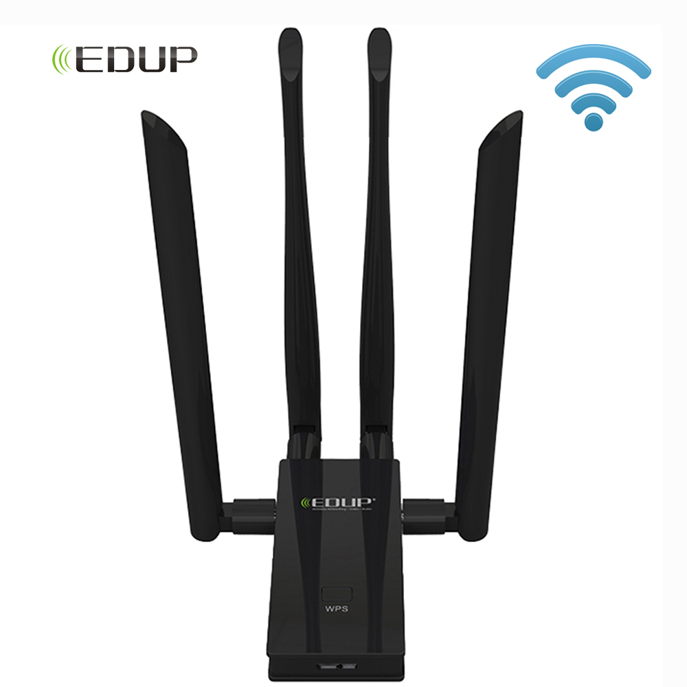 EDUP 1900Mbps USB WiFi Adapter 5Ghz USB 3.0 802.11ac Dual Band 4*6dbi WiFi Antenna Wi-Fi Receiver Support Windows Mac for PC адаптер usb edup 1532 300m usb usb wifi