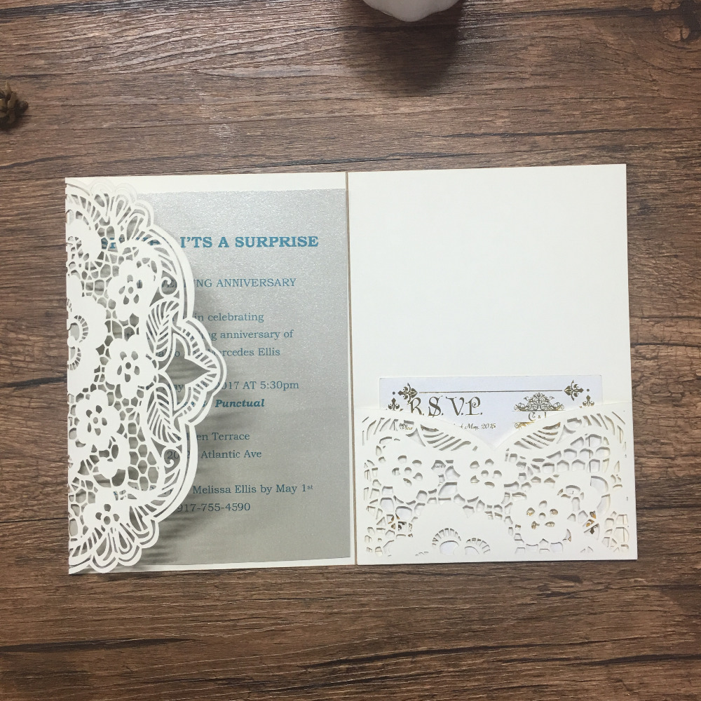 Latest unique tri folded 50pcs cream invitation card for birthday and wedding laser cut flower nice lace wedding cards model
