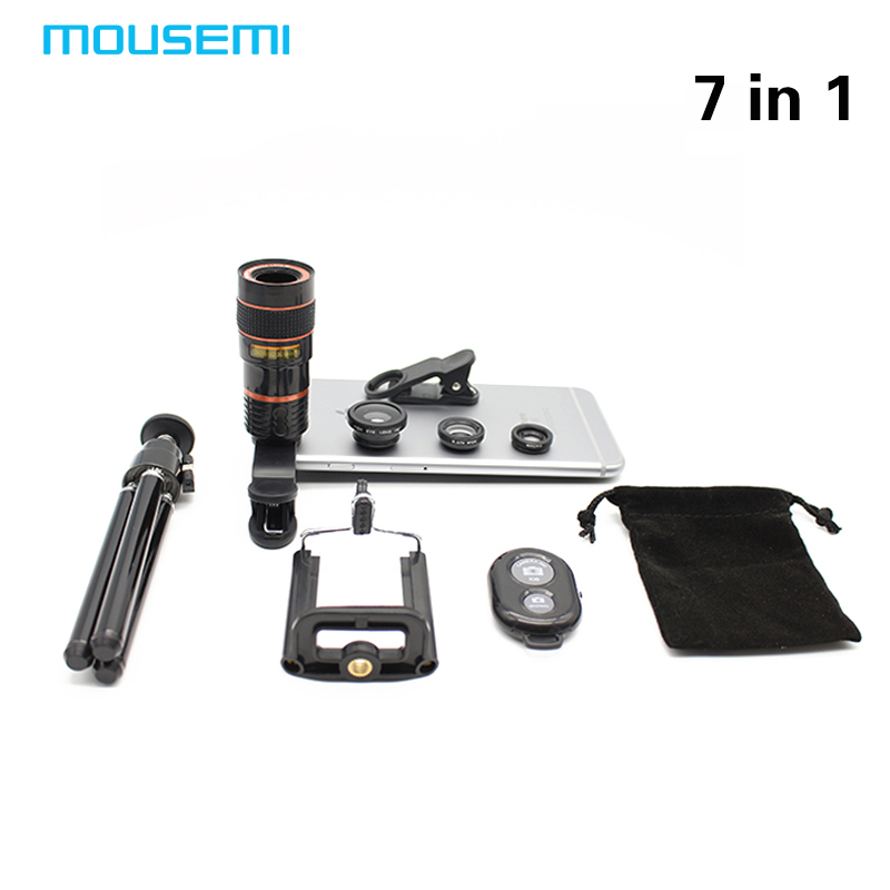 bilder für Neue 7in1 8x Zoom Tele Optical Kameraobjektiv Teleskop Aluminium Teleskop Mini Stativ Telefon 3in1 Objektiv Bluetooth Shutter