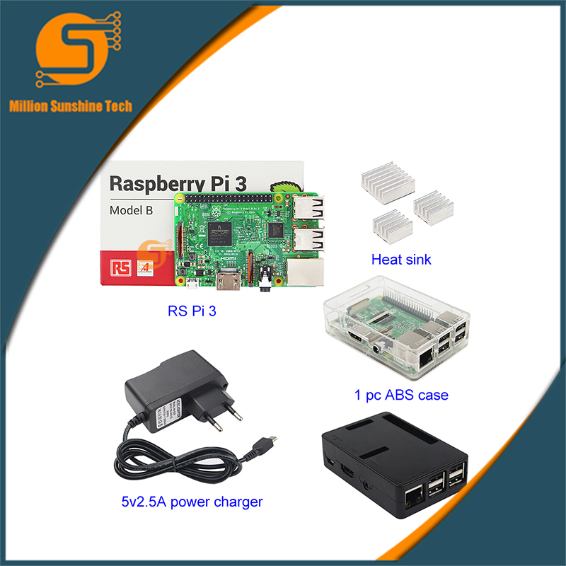 Raspberry Pi 3 Starter Kit with RS Raspberry Pi 3 Model B + case + Heat sinks+power supply for Raspberry pi free shipping free shipping pure nature raspberry extract raspberry ketones powder 500mg x 100caps
