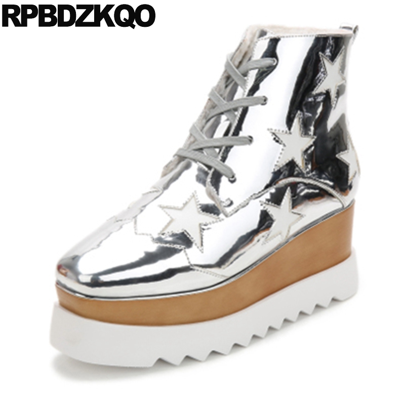 Lace Up Silver Metallic Autumn Square Toe Muffin High Heel Creepers Booties Waterproof Wedge Brand Ankle Boots Platform Designer