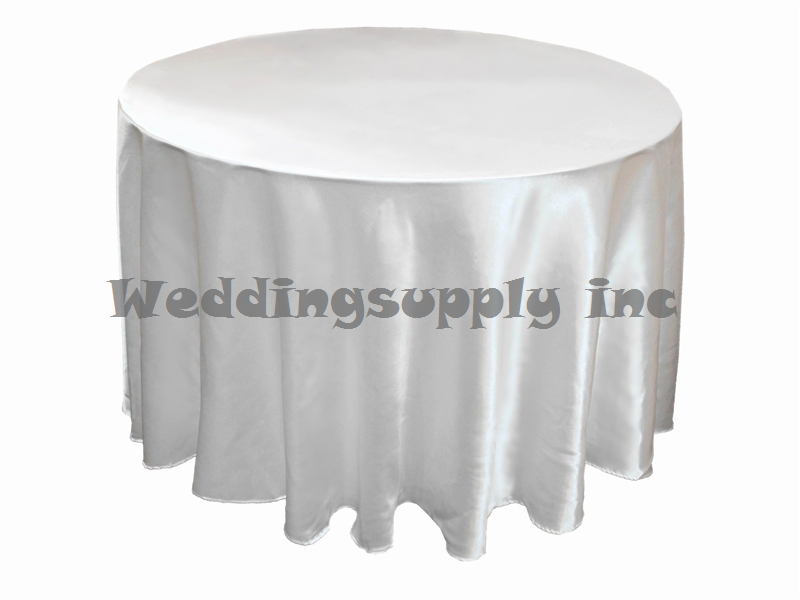 10 Pcs 90 Round White Satin Tablecloth Table Cloth For