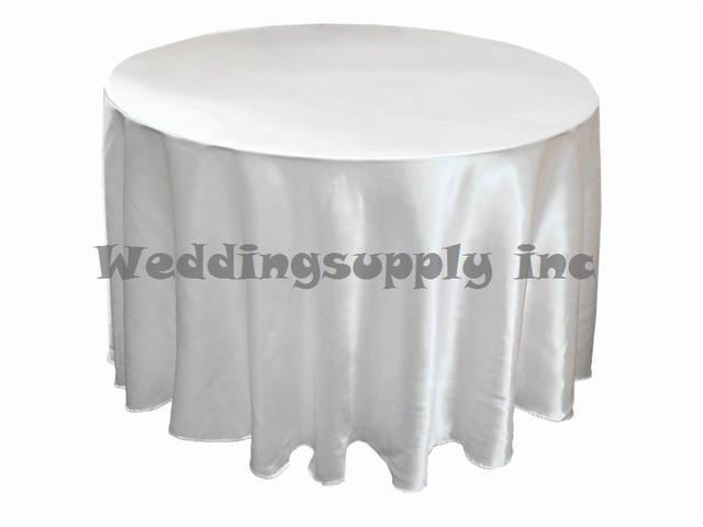 10 Pcs 90u0027u0027 Round White Satin Tablecloth Cheap Table Cloth For Wedding Free  Shipping