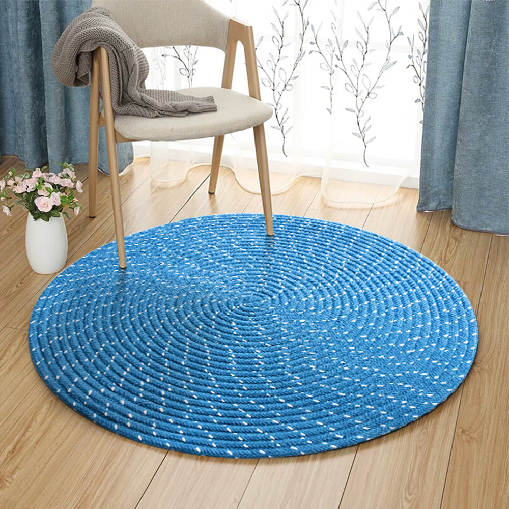 Chenille Material Soft Solid Color Round Carpet Hand Made Weave Living Room Bedroom Rug Children Play Home Decorator Floor Rug