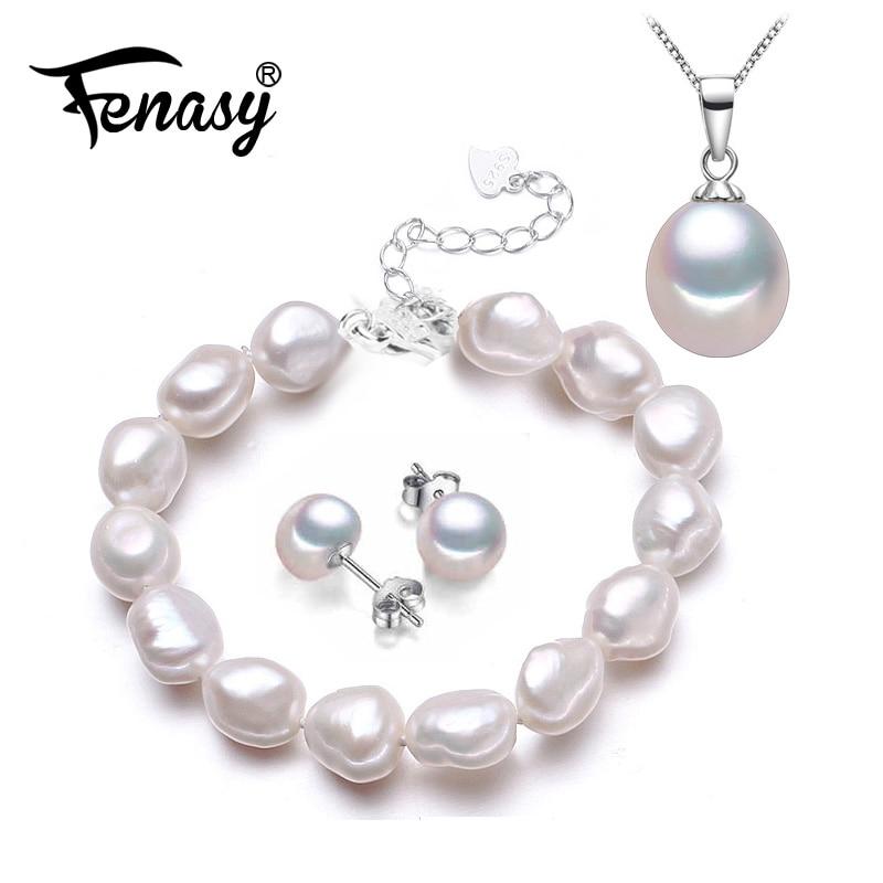 FENASY Natural Pearl Bracelet Necklaces & Pendants Earrings Jewelry Sets For Women Pearl Necklace/Earring/Bracelet Wedding