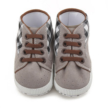 Toddler Plaid Stitching First Walkers Infant Baby Boy Shoes Lace-up Casual Sneaker Comfortable All Seasons Slim and Graceful