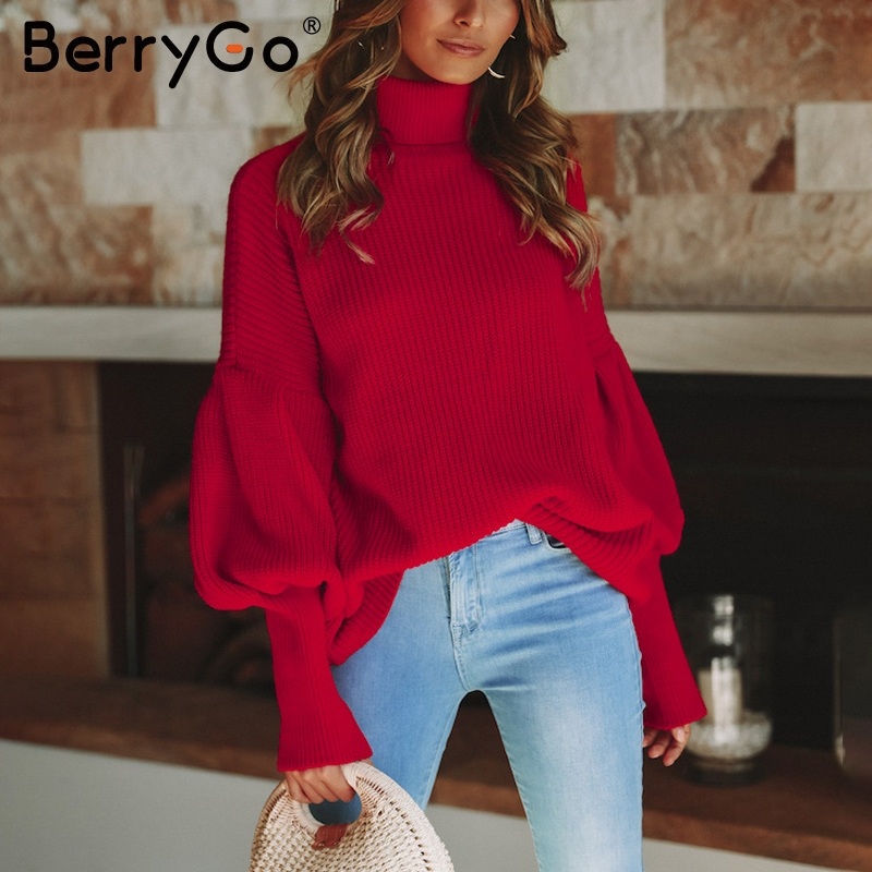 BerryGo Turtleneck knitting casual pullover women Lantern sleeve red winter  sweater female Streetwear short white jumper 2018-in Pullovers from Women s  ... fa69fa841