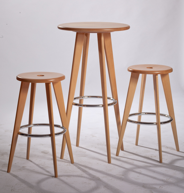 Modern Design Solid Wooden Bar Stool Counter Furniture Set Minimalist Living Room High