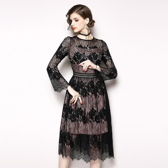 62e64a57331 2018 Party Dress Black Round Neck Long Sleeve Plain Eyelash Lace Dress  Women Elegant Scallop Trim