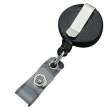 1Pcs Black Retractable Pull Key Ring Chain Reel ID Lanyard Name Tag Card Badge Holder Reel Recoil Belt Key Ring Clip