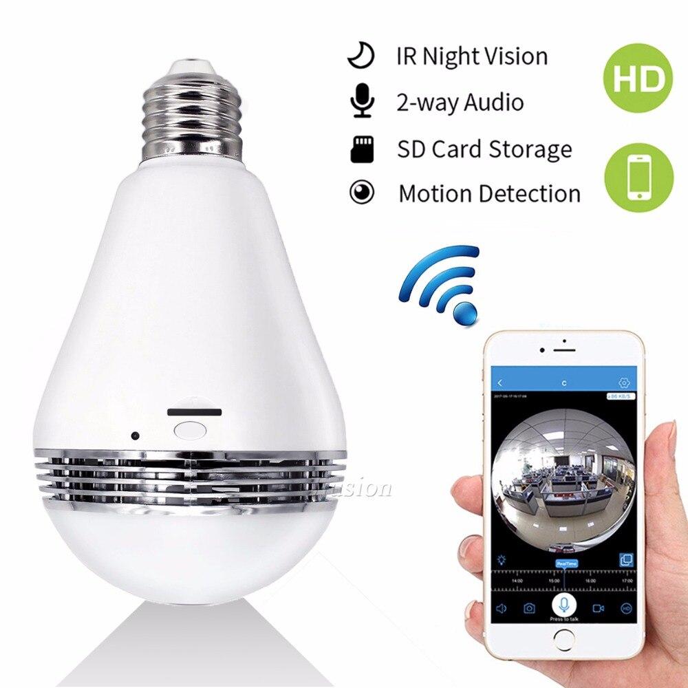 Caméra IP WIFI Mini 360 ampoule IR Vision nocturne Surveillance de sécurité en direct caméra CCTV Secret 1.3MP intelligent pour iPhone Android