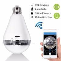 IP WIFI Mini Camera 360 Light Bulb IR Night Vision Live Security Surveillance Cam CCTV Secret