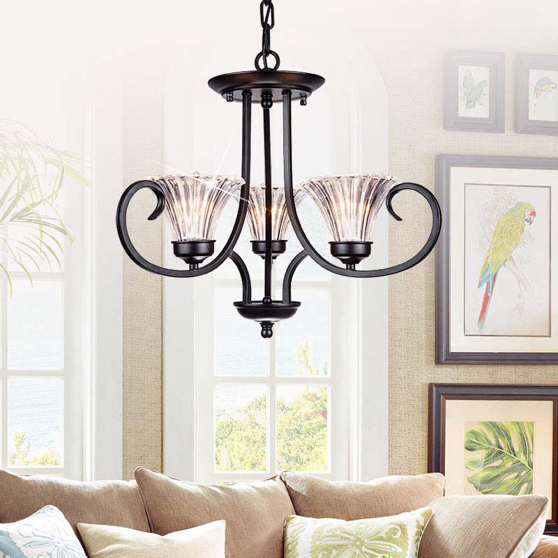Mediterranean Nordic glass chandeliers American country living room bedroom room study restaurant wrought iron glass lamps lamps new crystal pendant lights nordic european style living room restaurant bedroom modern minimalist american country iron