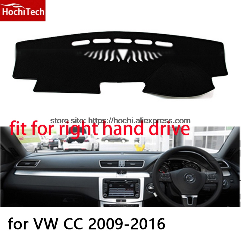 For Volkswagen VW CC 09-16 right hand drive dashboard mat Protective pad black car-styling Interior Refit Sticker Mat products for toyota prius 2012 2013 right hand drive dashboard mat protective pad black car styling interior refit sticker mat products