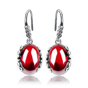 Image 2 - Jiashuntai retro brincos de prata para as mulheres do vintage vermelho amarelo pedras preciosas com 925 prata esterlina jóias indianas pendientes
