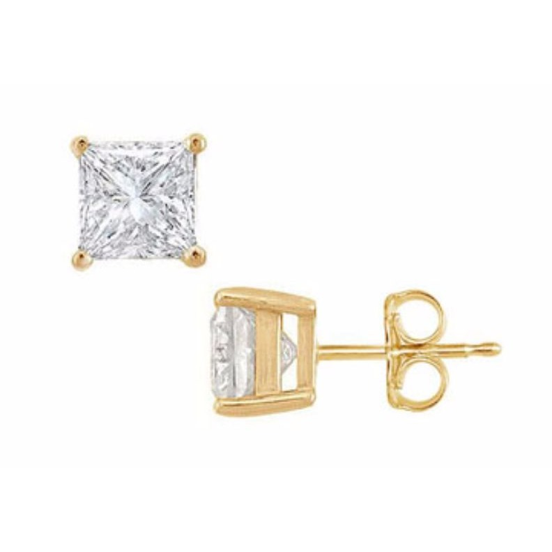 1.00 Ct Square Princess-Cut Cubic Zirconia 18K Yellow Gold Over Stud Earrings все цены