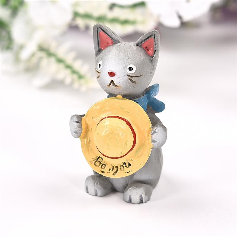 Kawaii Cat With Straw Hat Figurine Decor Mini Fairy Garden Animal Statue  Miniature Resin Craft Gift