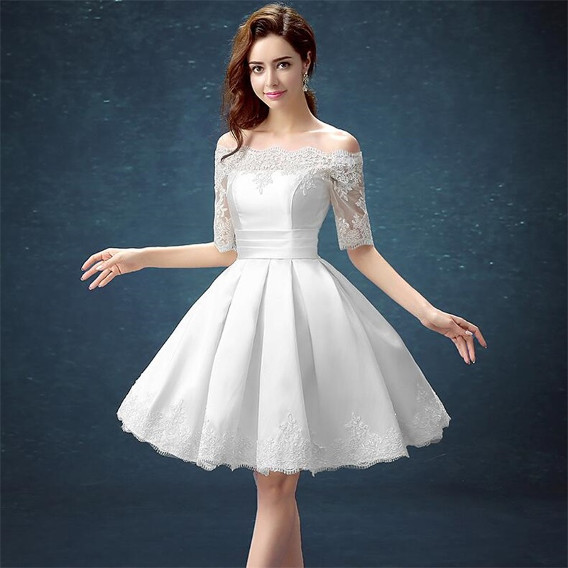 White Half Sleeve Ball Gown Embroidery Lace Special