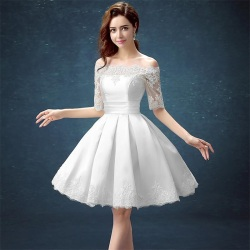 White half sleeve ball gown embroidery lace special occasion short party dress knee length robe de.jpg 250x250