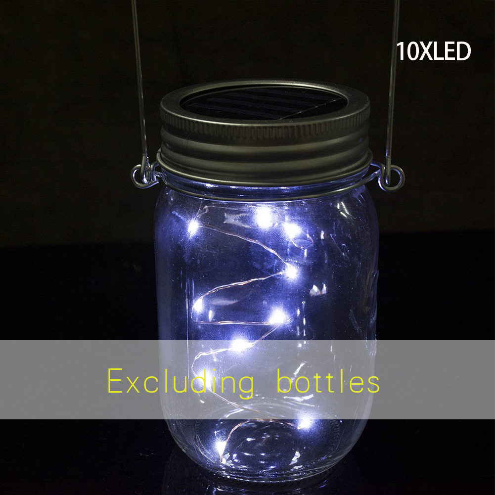 Christmas Garden Decor Solar Powered Mason Jar Lid Light Led Fairy String Lamp Lights & Lighting
