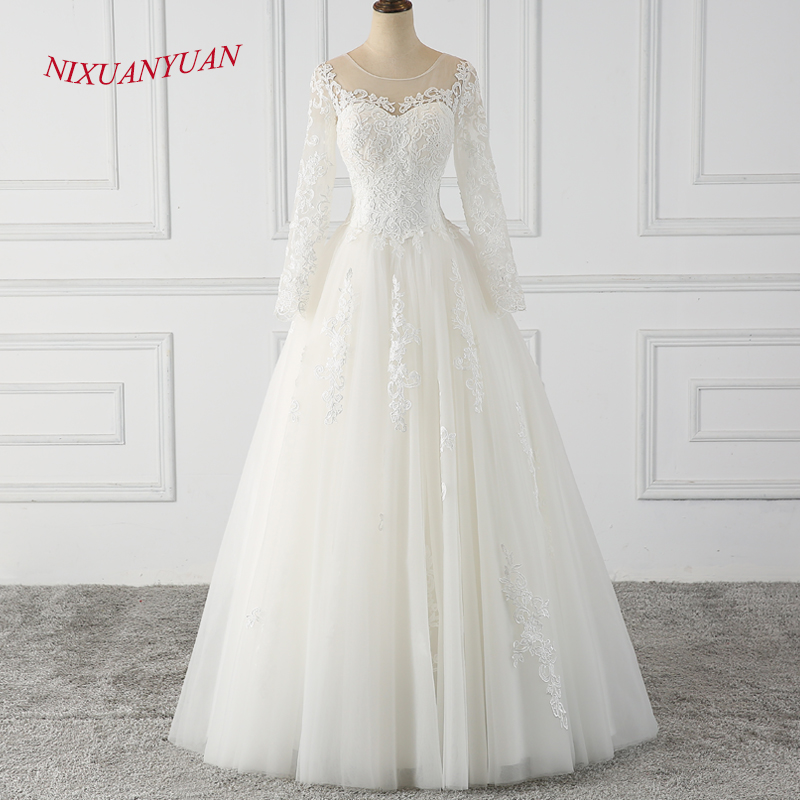 NIXUANYUAN 2019 New Design Elegant Appliques Bride Ball Gown White Ivory  Tulle Wedding Dress 2018 vestido de noiva With Sleeves b3127e32ff7a