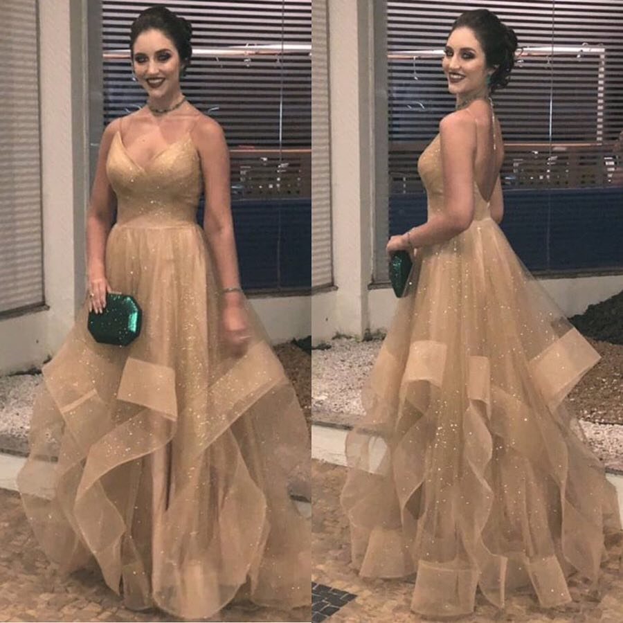 Glitter Tulle Prom Dress Sequin Sexy Spaghetti Straps V Neck Tiered Plus Size Women Evening Dresses Formal Gold Party Gala Gowns
