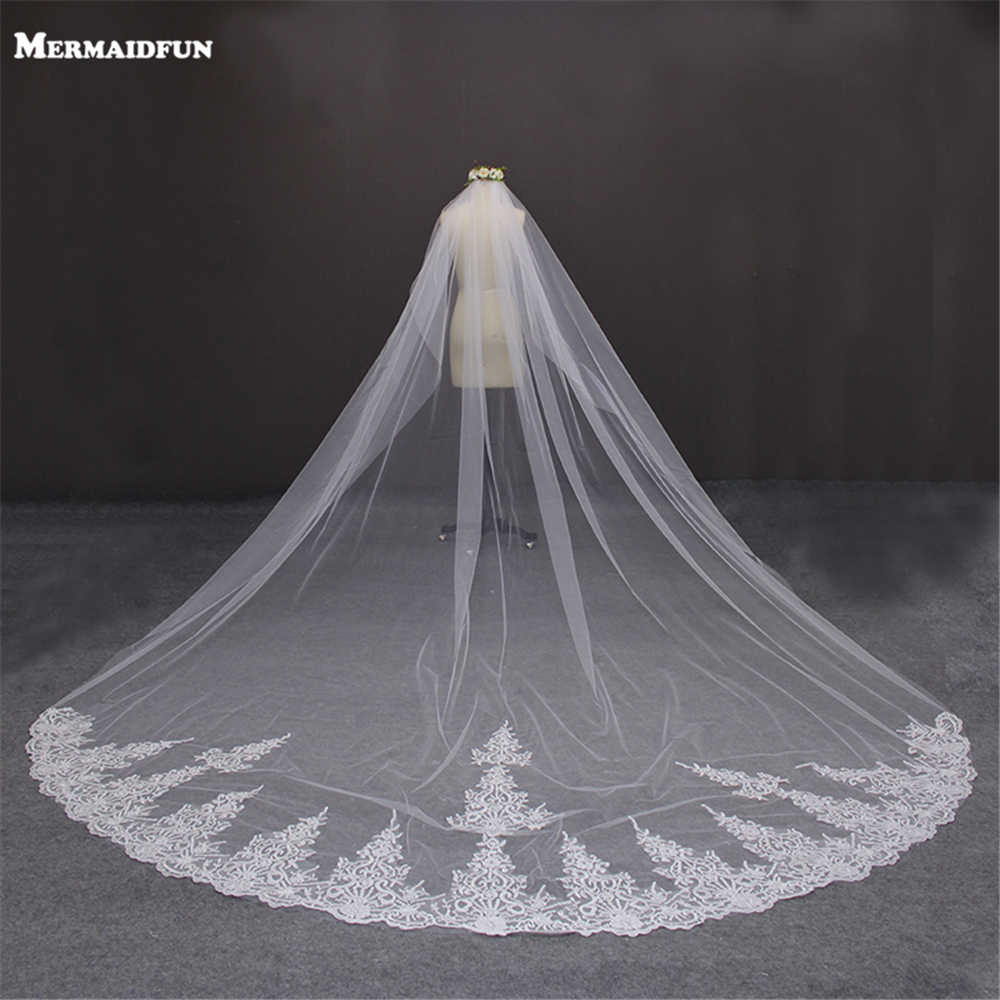 Hot Sale Wedding Veil Long Bridal Veil 5 meters Lace Edge Cathedral Without Comb