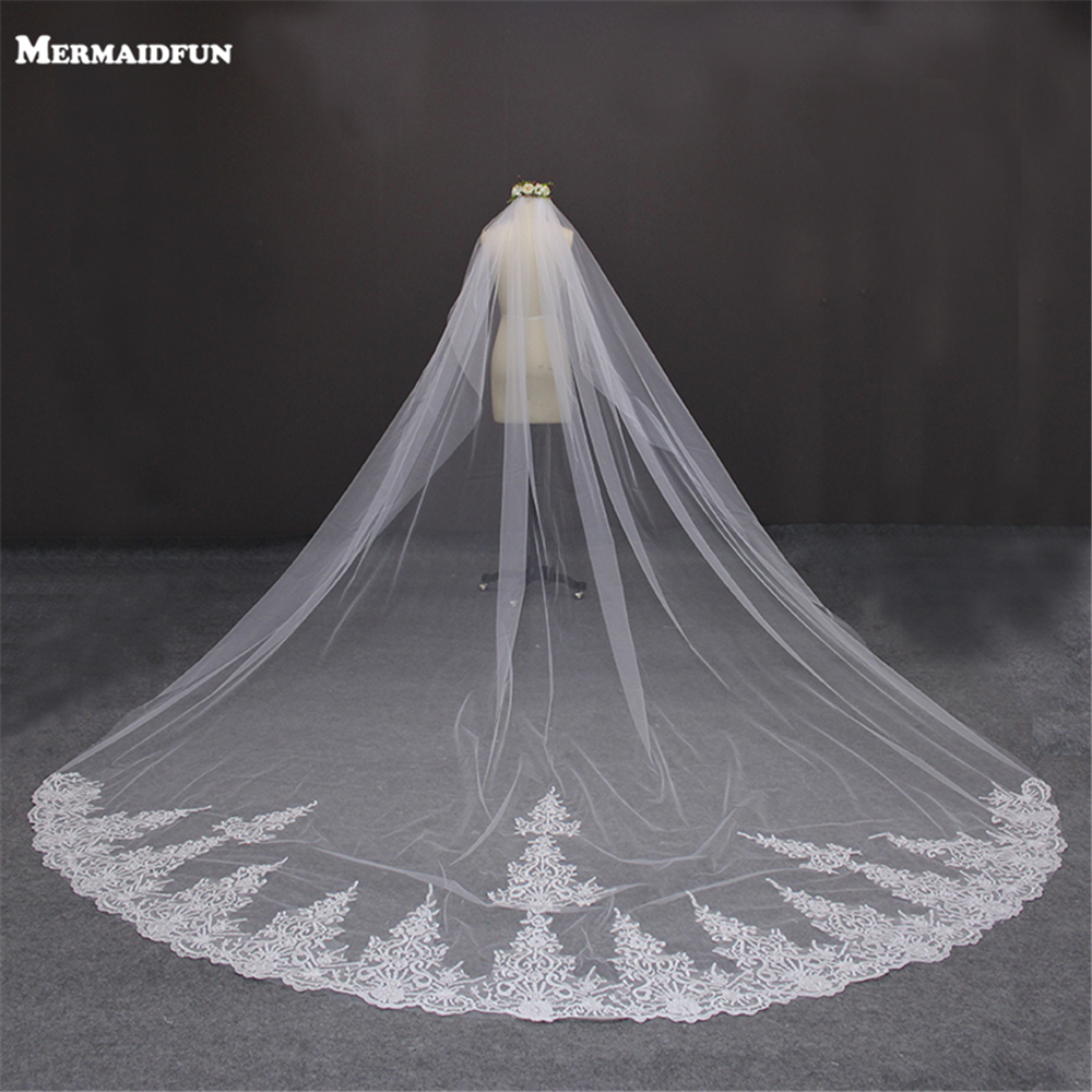 Luxury 4 Meters Lace Edge One Layer Cathedral Long Wedding Veil With Comb Beautiful Tulle 4M Bridal Veil Voile Mariage