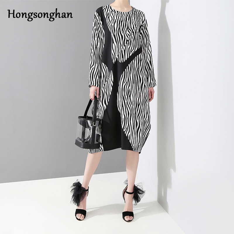 Hongsonghan 2019 Spring new large size women 39 s clothes in Europe United States loose splicing vintage striped printed dress tide in Dresses from Women 39 s Clothing