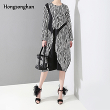 Hongsonghan 2019 Spring new large size womens clothes in Europe United States loose splicing vintage striped printed dress tide