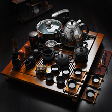 Yixing Purple sand tea set induction cooker ceramic kung fu of a complete set of solid wood tea tray tea sea