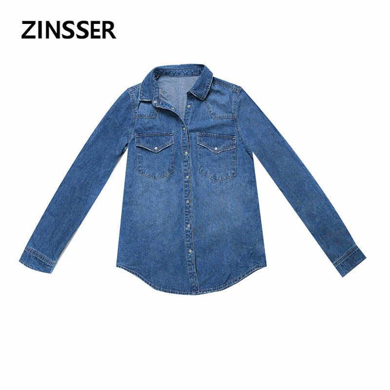 Осенне-зимняя женская джинсовая Базовая рубашка свободная повседневная с длинным рукавом с 2 карманами 100% хлопок промытая Синяя Женская блузка Топ