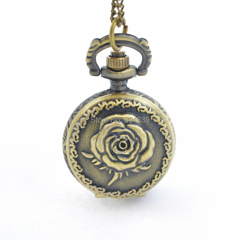New Vintage Antique Style Rose Pendant Pocket Watch With Necklace Chain Women Ladies Quartz Watch Nice Xmas Gift With Battery antique smooth black mini toy pocket watch men women retro pendant necklace quartz watch mini gift chain reloj de bolsillo