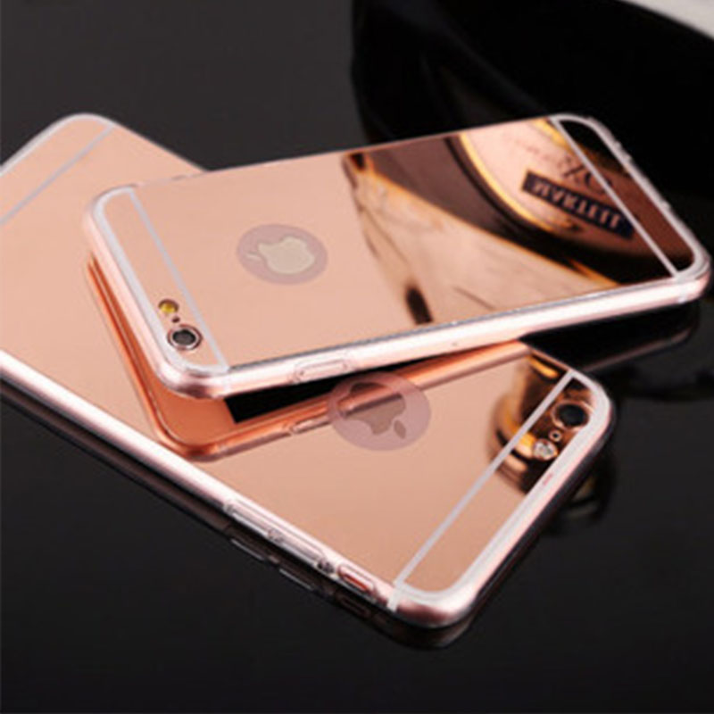 buy online 92d53 0ef83 US $1.78 |Rose Gold Mirror Reflection TPU Phone Cases For Apple iPhone 6 6S  4.7 / 6 6S Plus 5.5 Soft Gold plating Acrylic Back Case Cover on ...