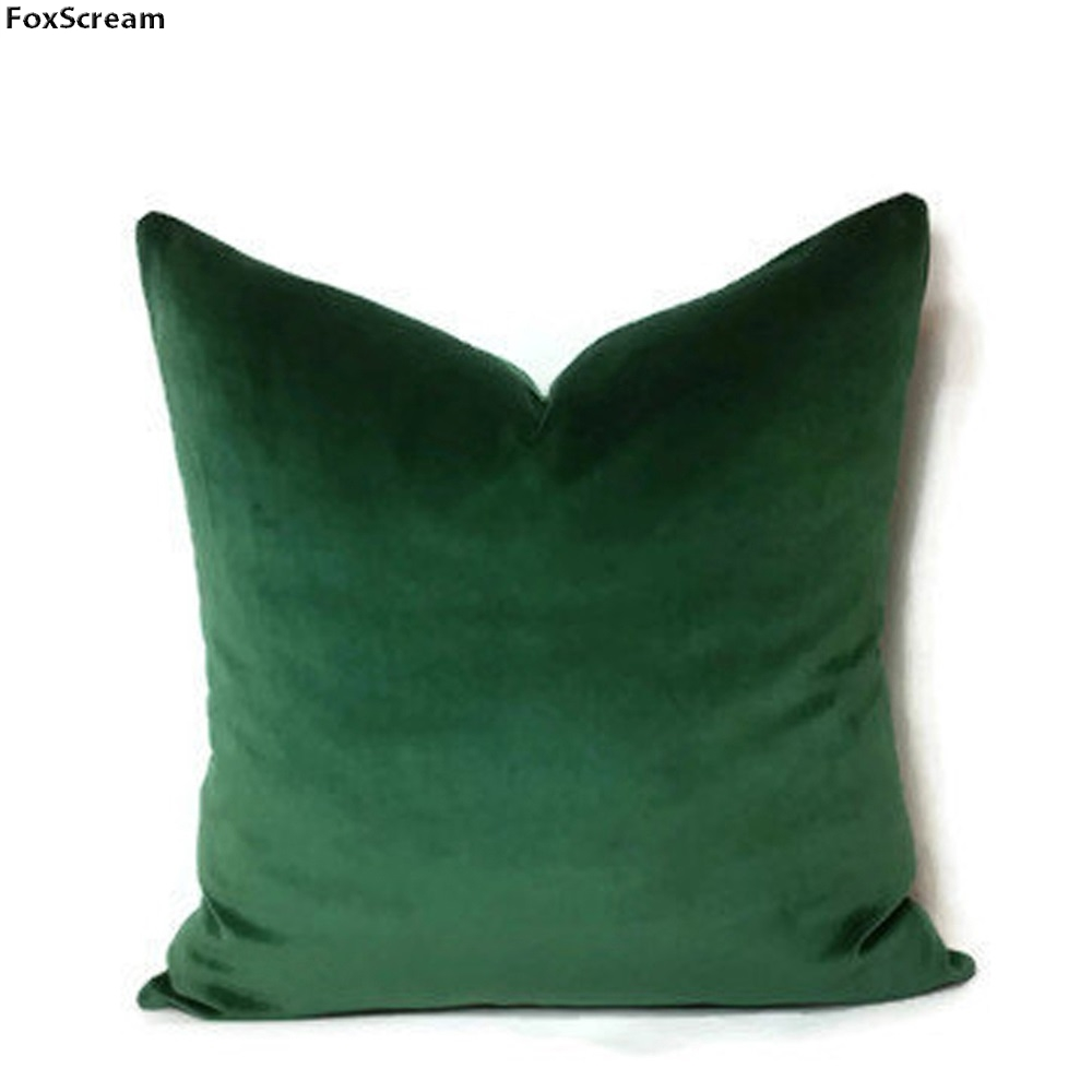 luxury green cushion cover home decor moss emerald green velvet forest decorative pillow case lumber throw pillows for sofa