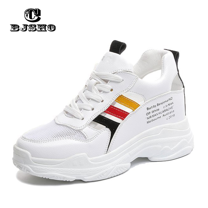 CBJSHO 2018 Fashion Thick High Heel Shoes Womans Sneakers Increase In Height Summer Lace Up Breathable Mesh Shoes Women