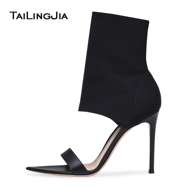 ae938a272c Black Mid Calf Stretch Boots Sexy Open Toe Sock Ankle Booties Red High Heel  Sandals Ladies Summer Shoes Women Dress Shoes 2018