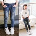 2016 весной девочка джинсы детские брюки Звезда шаблон девочек тонкие джинсы