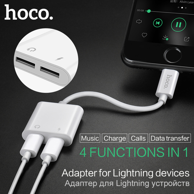 HOCO For Lightning To Dual Lightning 2in1 Charging Audio Adapter Earphone  Headphone Cable Converter For Apple